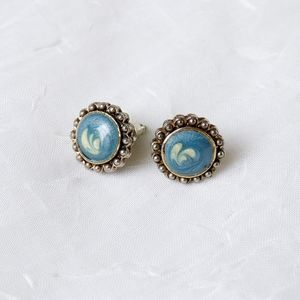 Retro blue silver abstract flower button earrings